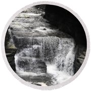 Waterfall And Rocks Round Beach Towel