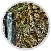 Waterfall At Castle In The Clouds Round Beach Towel