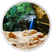 Waterfall At Cliff Side Round Beach Towel