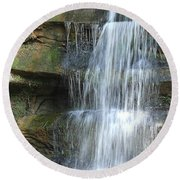 Waterfall At Old Man's Cave Round Beach Towel