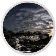 Waterfall At Sunrise Round Beach Towel by Bob Orsillo