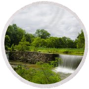 Waterfall At Valley Creek Near Valley Forge Round Beach Towel