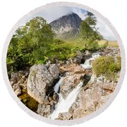 Waterfall Below Stob Dearg Round Beach Towel