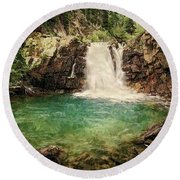 Waterfall Dreaming Round Beach Towel