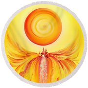 Waterfall From Series Angel's Town Round Beach Towel