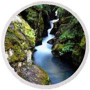 Waterfall, Glacier National Park Round Beach Towel
