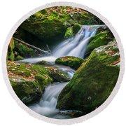 Waterfall Great Smoky Mountains  Round Beach Towel