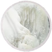 Waterfall Ice Formation Round Beach Towel