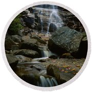 Waterfall In A Forest, Arethusa Falls Round Beach Towel