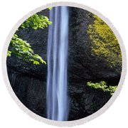 Waterfall In A Forest, Latourell Falls Round Beach Towel