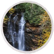Waterfall In Autumn Round Beach Towel