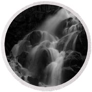 Waterfall In Black And White Round Beach Towel by Bill Gallagher