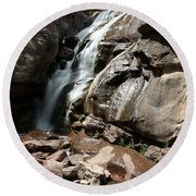 Waterfall In Colorado Round Beach Towel