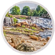 Waterfall In Contrast Round Beach Towel