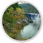 Waterfall In Forest, Cumberland Falls Round Beach Towel
