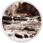 Waterfall In Sepia Round Beach Towel