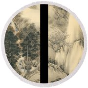 Waterfall In Spring And Autumn Round Beach Towel