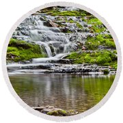 Waterfall In The Forest In Autumn Season  Round Beach Towel