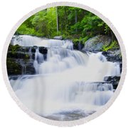 Waterfall In The Pocono Mountains Round Beach Towel