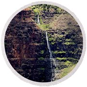 Waterfall In The Valley Round Beach Towel
