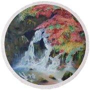 Japanese Waterfall Round Beach Towel