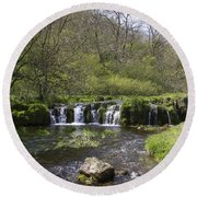 Waterfall Lathkill Dale Derbyshire Round Beach Towel