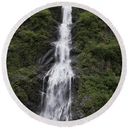 Waterfall Near Valdez Ak Round Beach Towel
