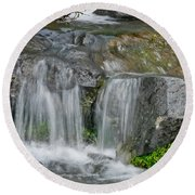 Waterfall On The Paradise River Round Beach Towel