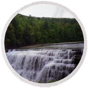 Waterfall On The River Round Beach Towel
