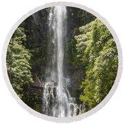 Waterfall On The Road To Hana Round Beach Towel