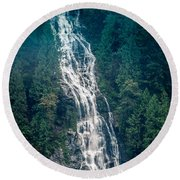 Waterfall Princess Louisa Inlet Round Beach Towel