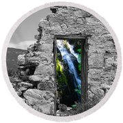 Waterfall Through The Magic Door Round Beach Towel