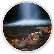 Waterfall And Leaves In Autumn Round Beach Towel