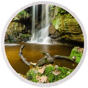 Waterfall With Autumn Leaves Round Beach Towel