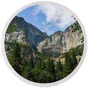 Waterfall, Yosemite Valley, Yosemite Round Beach Towel