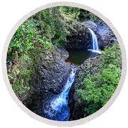 Waterfalls And Pools Maui Hawaii Round Beach Towel