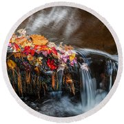 Waterfalls Childs National Park Painted    Round Beach Towel