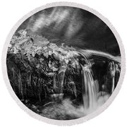 Waterfalls Childs National Park Painted Bw   Round Beach Towel