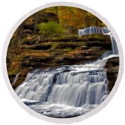 Waterfalls In The Fall Round Beach Towel by Susan Candelario
