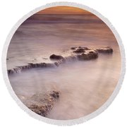 Waterfalls On The Rocks Round Beach Towel