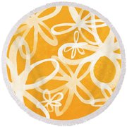 Waterflowers- Orange And White Round Beach Towel by Linda Woods