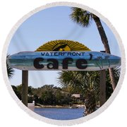 Waterfront Cafe Round Beach Towel