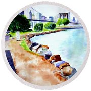 Waterfront In Dumbo Round Beach Towel