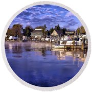 Waterfront Morning Round Beach Towel