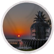 Waterfront Park Sunrise Round Beach Towel