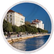 Waterfront Promenade In Zadar Round Beach Towel