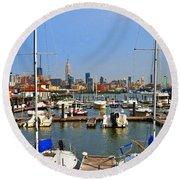 Waterfront View Hoboken Round Beach Towel