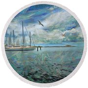 Waterfront View  Round Beach Towel