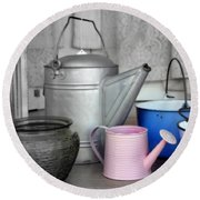 Watering Cans And Buckets Round Beach Towel