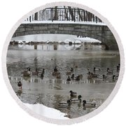 Watering Hole Ducks Only Round Beach Towel